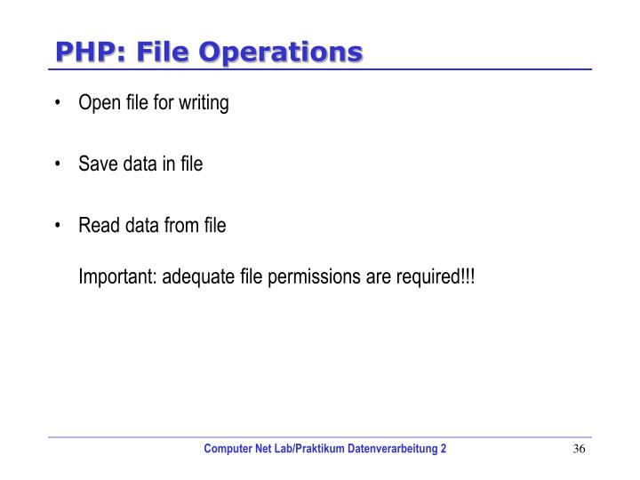 PHP: File Operations