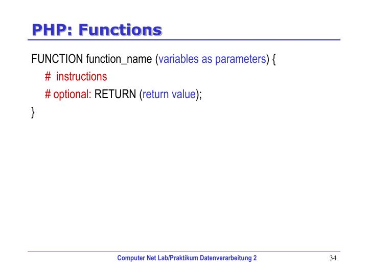 PHP: Functions