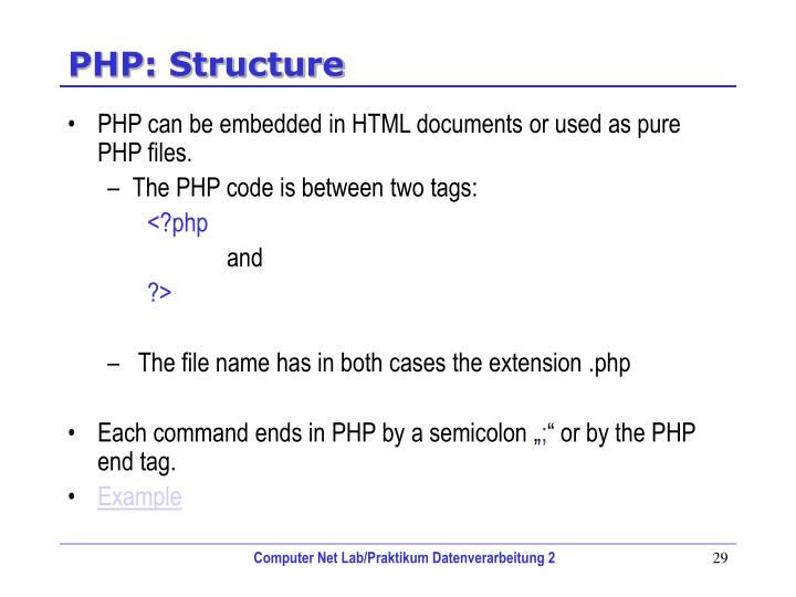 PHP: Structure