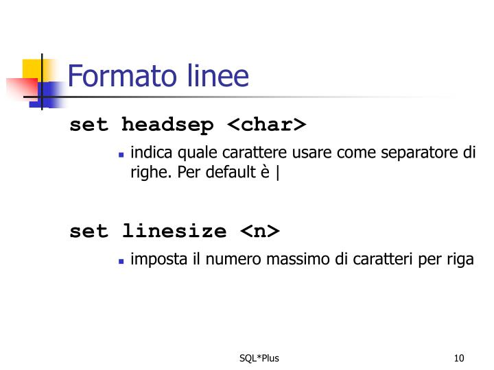Formato linee