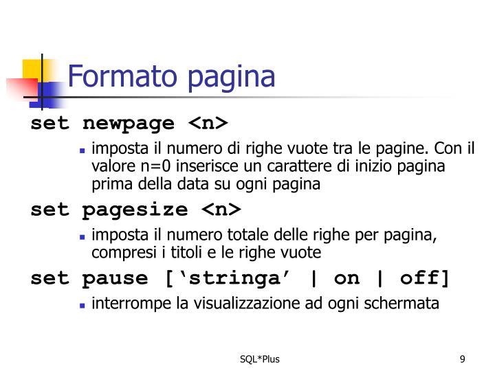 Formato pagina