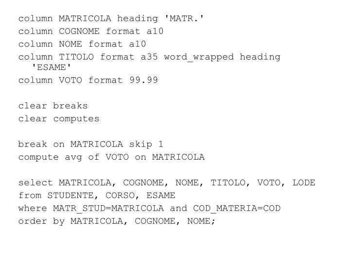 column MATRICOLA heading 'MATR.'
