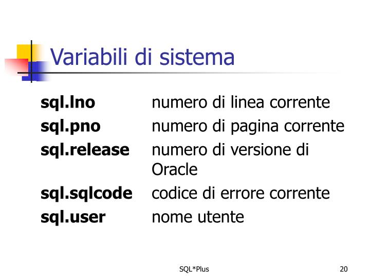 Variabili di sistema