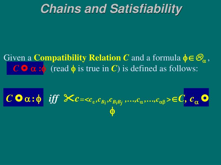 Chains and Satisfiability