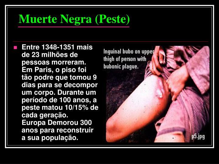 Entre 1348-1351 mais de 23 milhões de pessoas morreram.