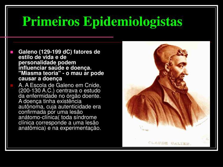 """Galeno (129-199 dC) fatores de estilo de vida e de personalidade podem influenciar saúde e doença. """"Miasma teoria"""" - o mau ar pode causar a doença"""