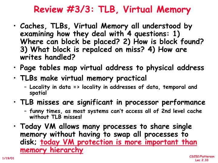 Review #3/3: TLB, Virtual Memory