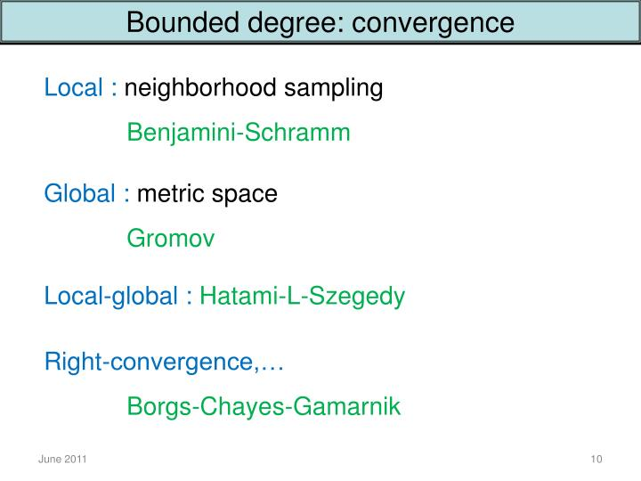 Bounded degree: convergence