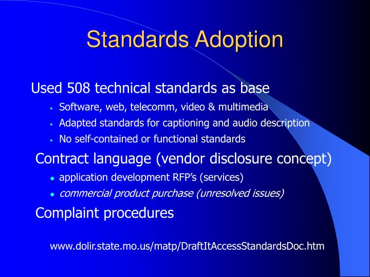 Standards Adoption