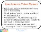 basic issues in virtual memory