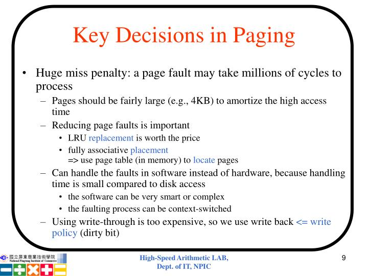 Key Decisions in Paging