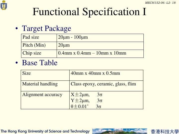 Functional Specification I