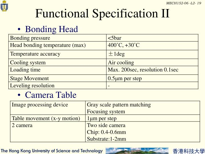 Functional Specification II