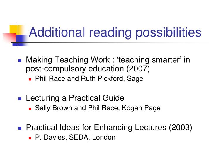 Additional reading possibilities