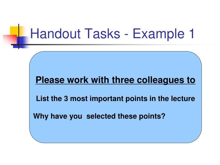 Handout Tasks - Example 1