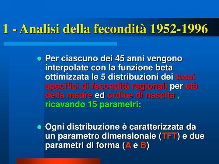 1 - Analisi della fecondità 1952-1996
