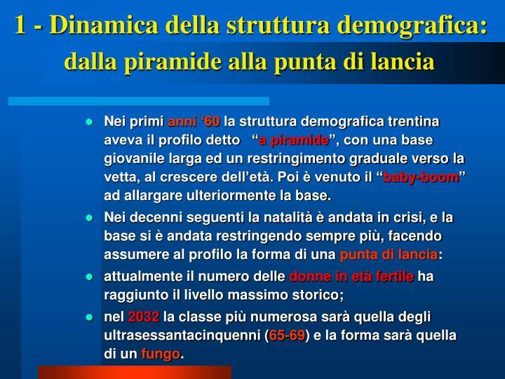 1 - Dinamica della struttura demografica: