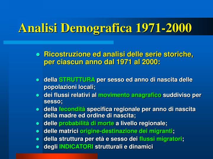 Analisi Demografica 1971-2000