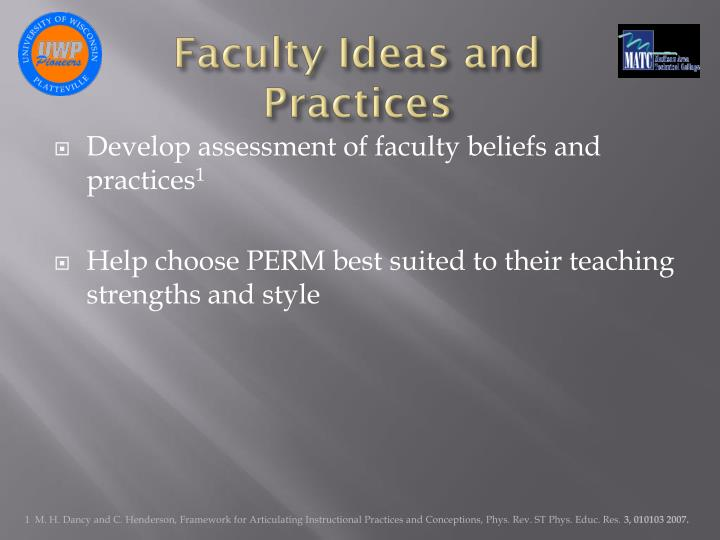 Faculty Ideas and Practices
