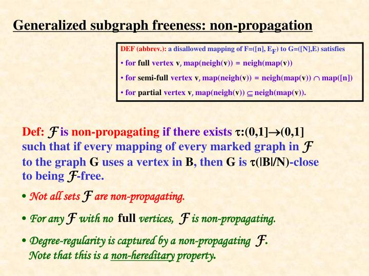 Generalized subgraph freeness: non-propagation