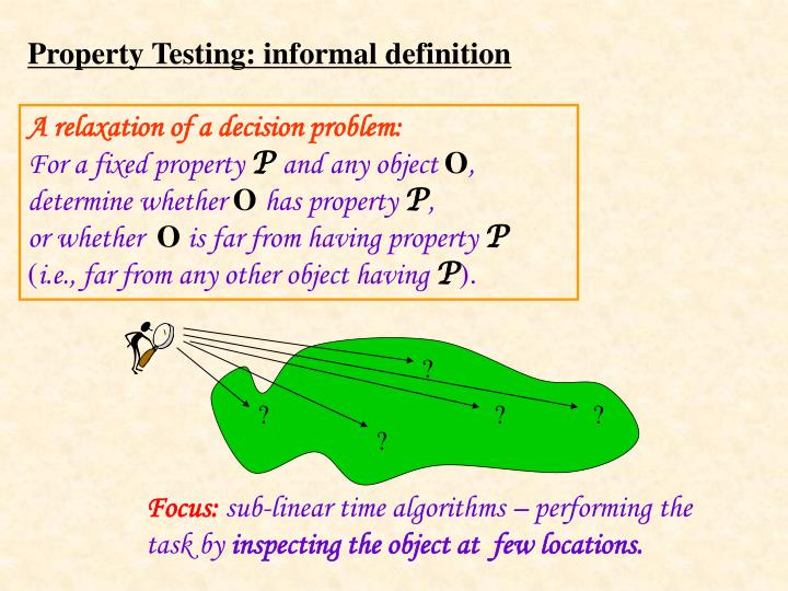 Property testing informal definition