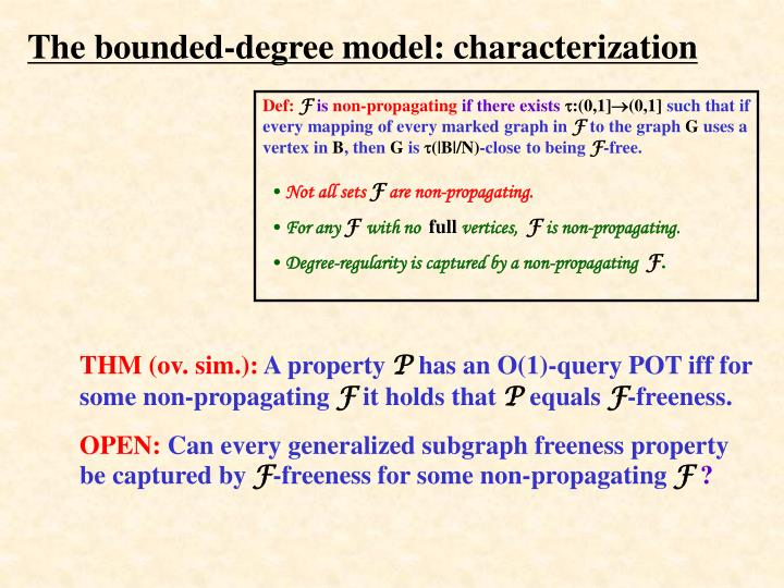 The bounded-degree model: characterization