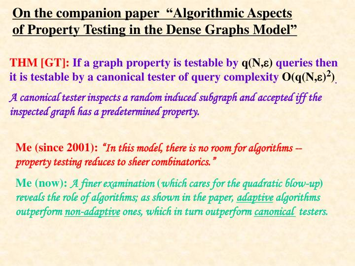 "On the companion paper  ""Algorithmic Aspects of"