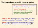 the bounded degree model characterization