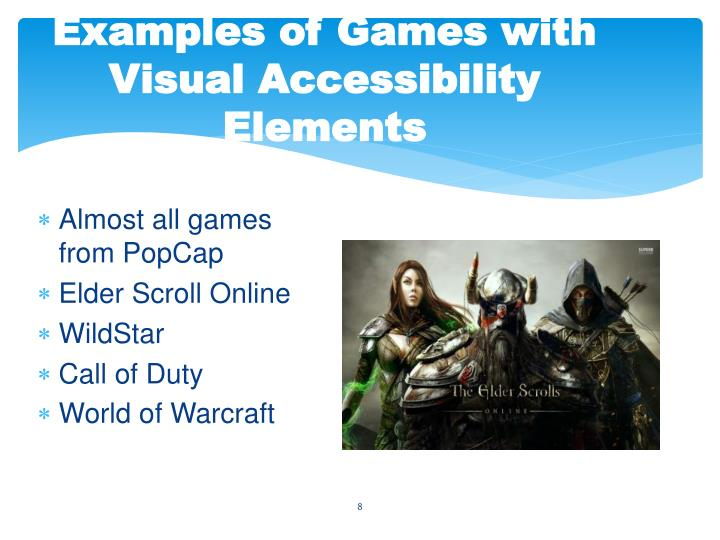 Examples of Games with Visual Accessibility Elements