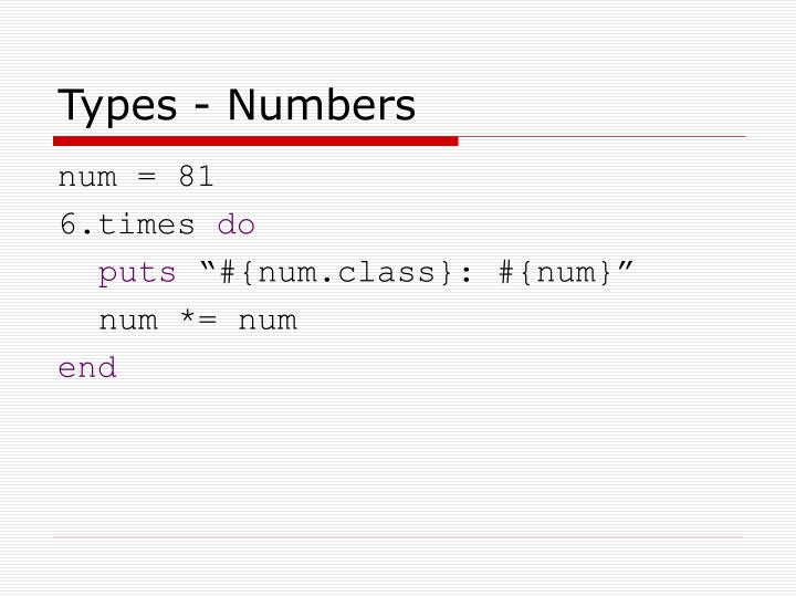 Types - Numbers
