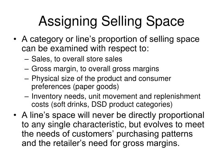 Assigning Selling Space