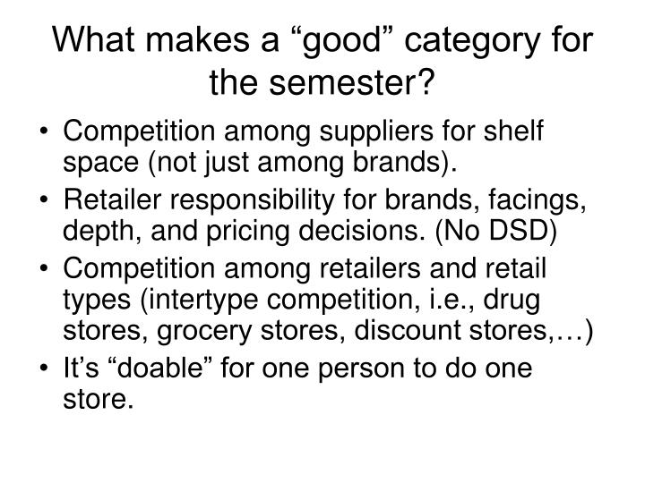 """What makes a """"good"""" category for the semester?"""