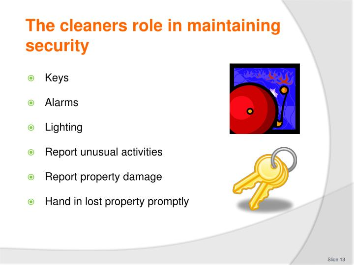 The cleaners role in maintaining security
