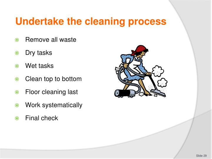 Undertake the cleaning process