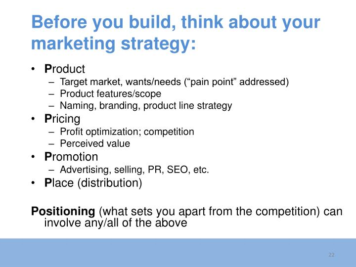 Before you build, think about your marketing strategy: