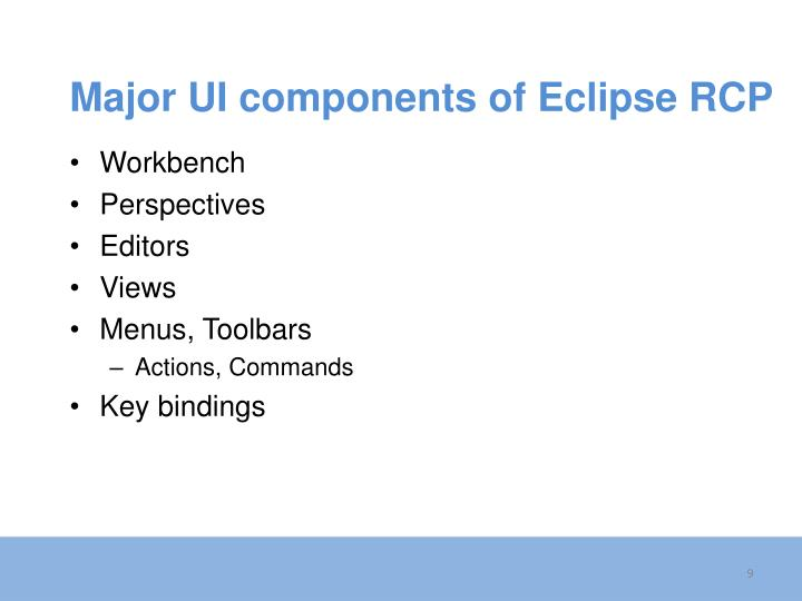 Major UI components of Eclipse RCP