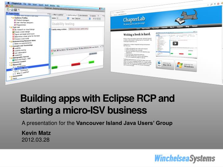 Building apps with Eclipse RCP and starting a micro-ISV business