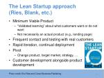 the lean startup approach ries blank etc