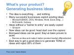 what s your product generating business ideas