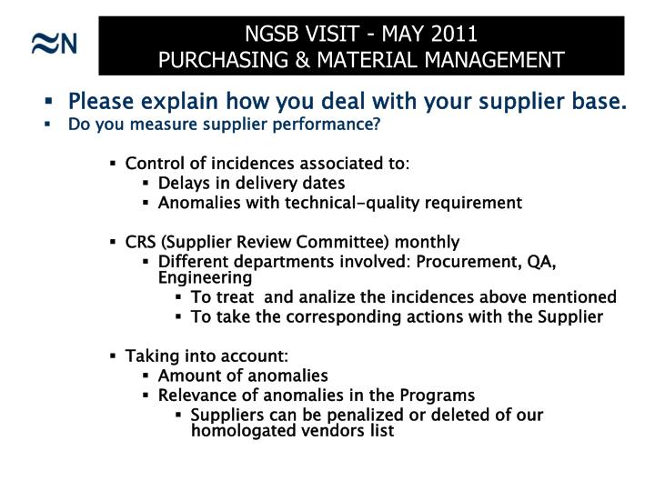Ngsb visit may 2011 purchasing material management