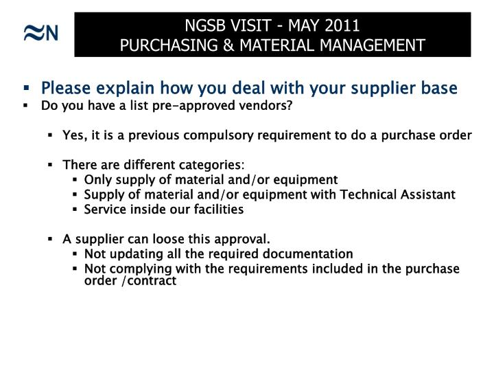 Ngsb visit may 2011 purchasing material management1