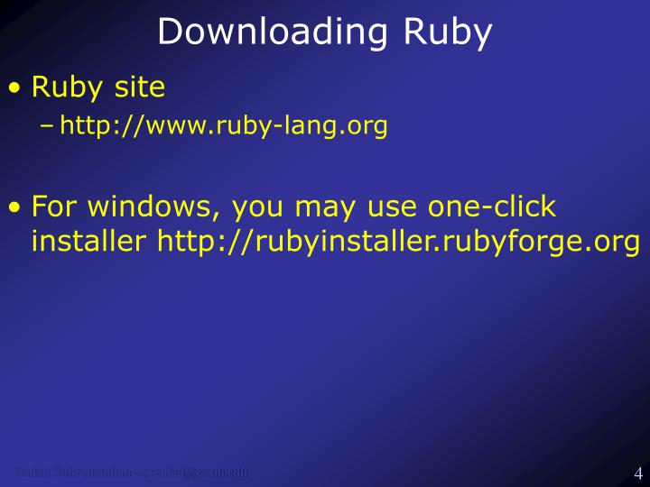 Downloading Ruby