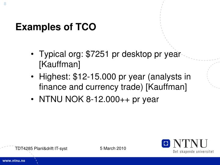 Examples of TCO