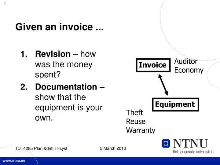 Given an invoice ...