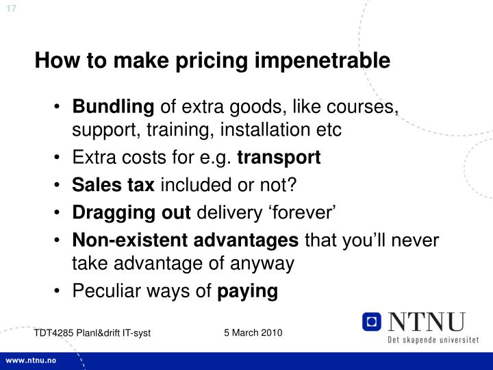 How to make pricing impenetrable