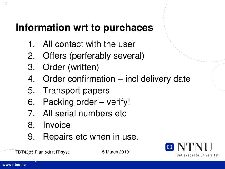 Information wrt to purchaces