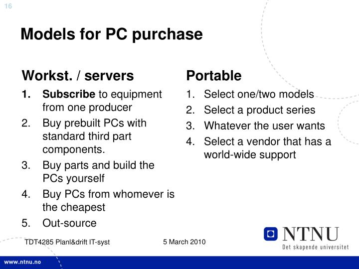 Models for PC purchase