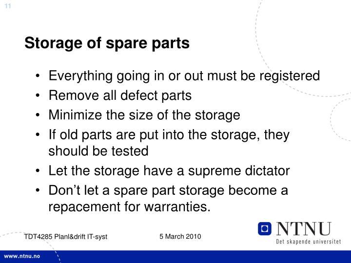 Storage of spare parts