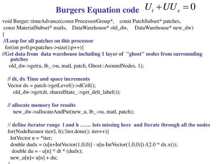 Burgers Equation code