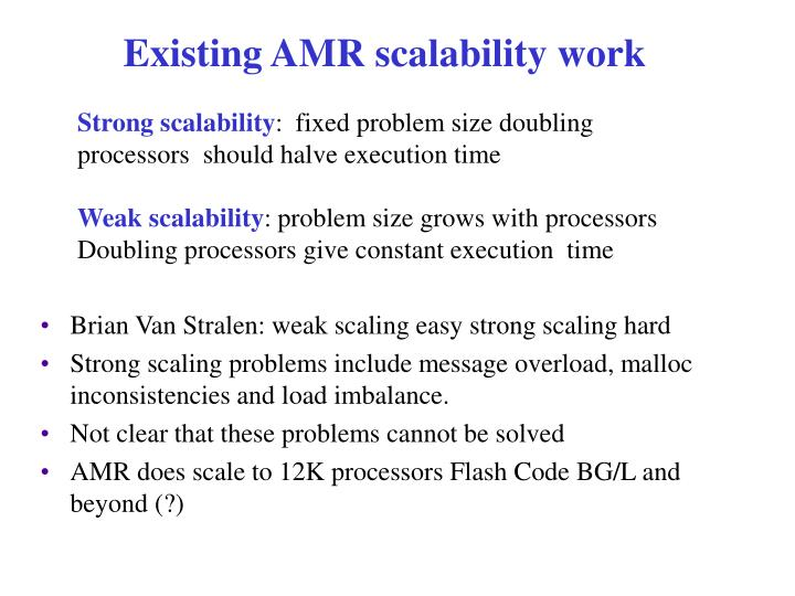 Existing AMR scalability work